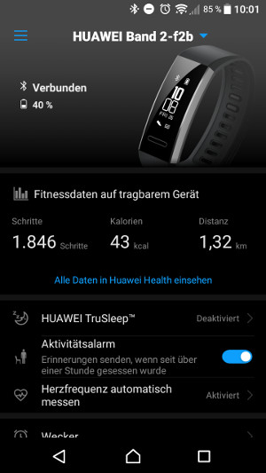 Huawei Band 2 Pro Wear App (Screenshot by Jennifer Eilitz)