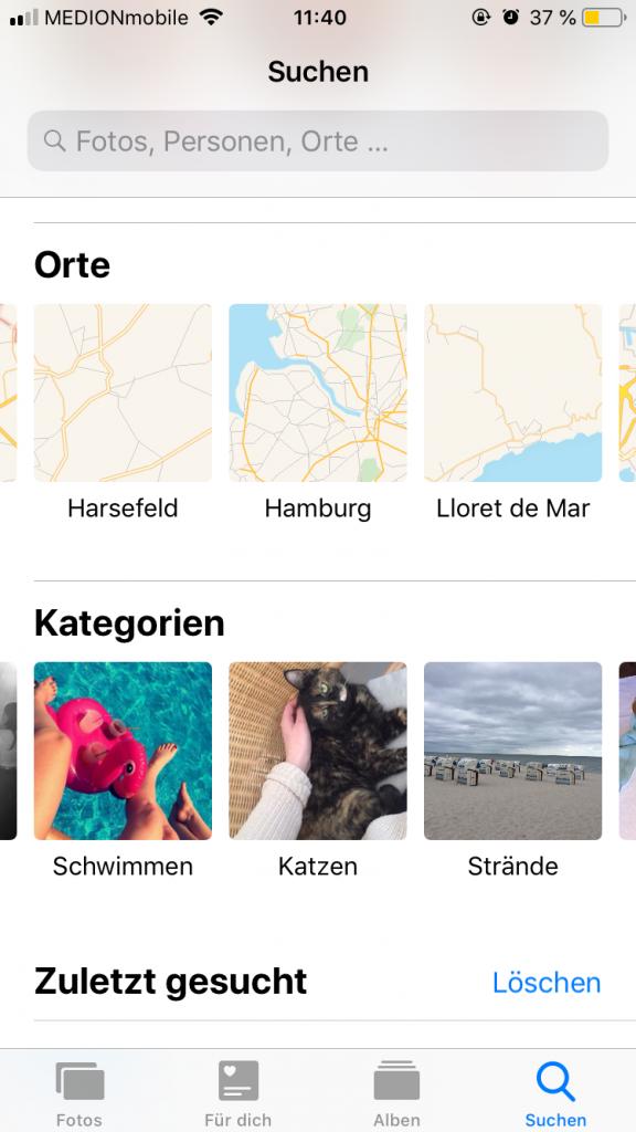 """Die neue Funktion """"Suchen"""" bei den Fotos, Screenshot by Lina Schilling"""