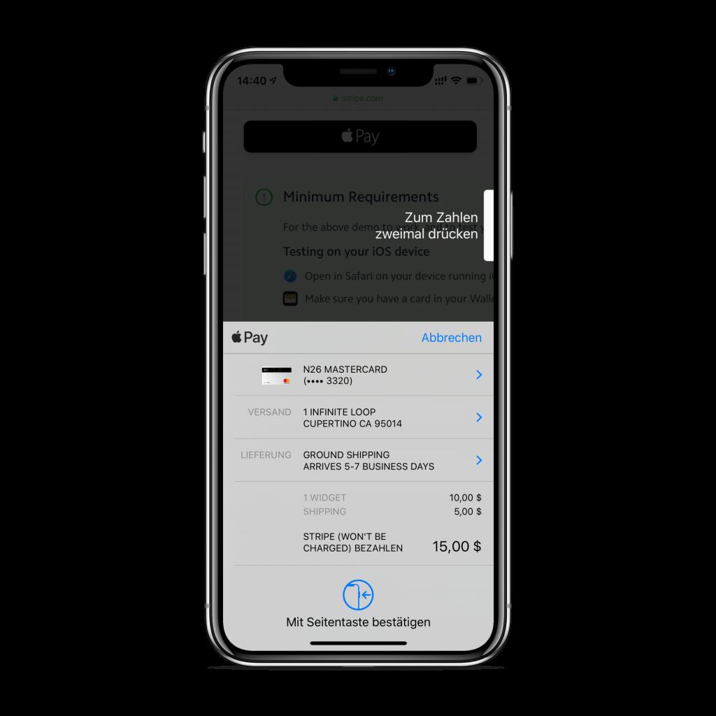 Apple Pay bezahlen im Internet