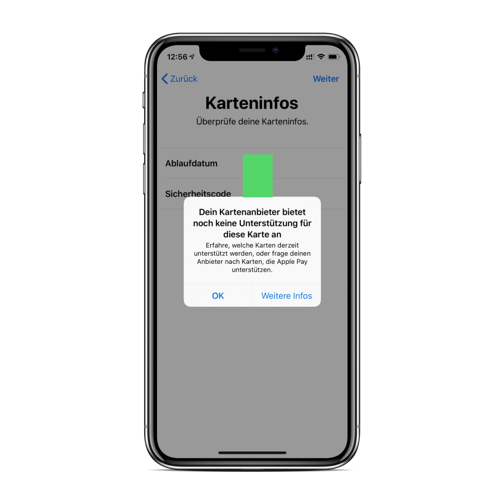 Apple Pay nicht unterstützte Karte