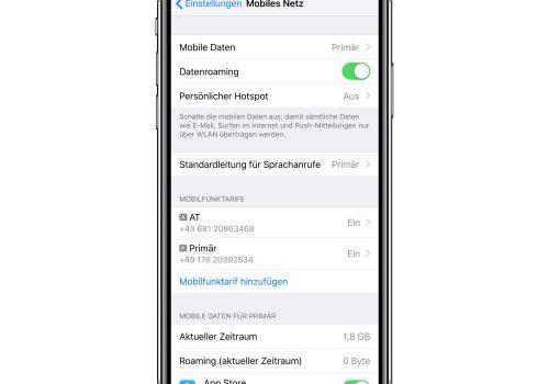 iOS-Einstellungen Dual-SIM