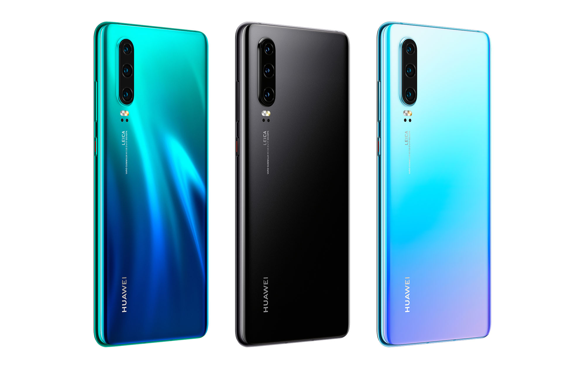 Huawei P30 in Aurora, Black und Breathing Crystal