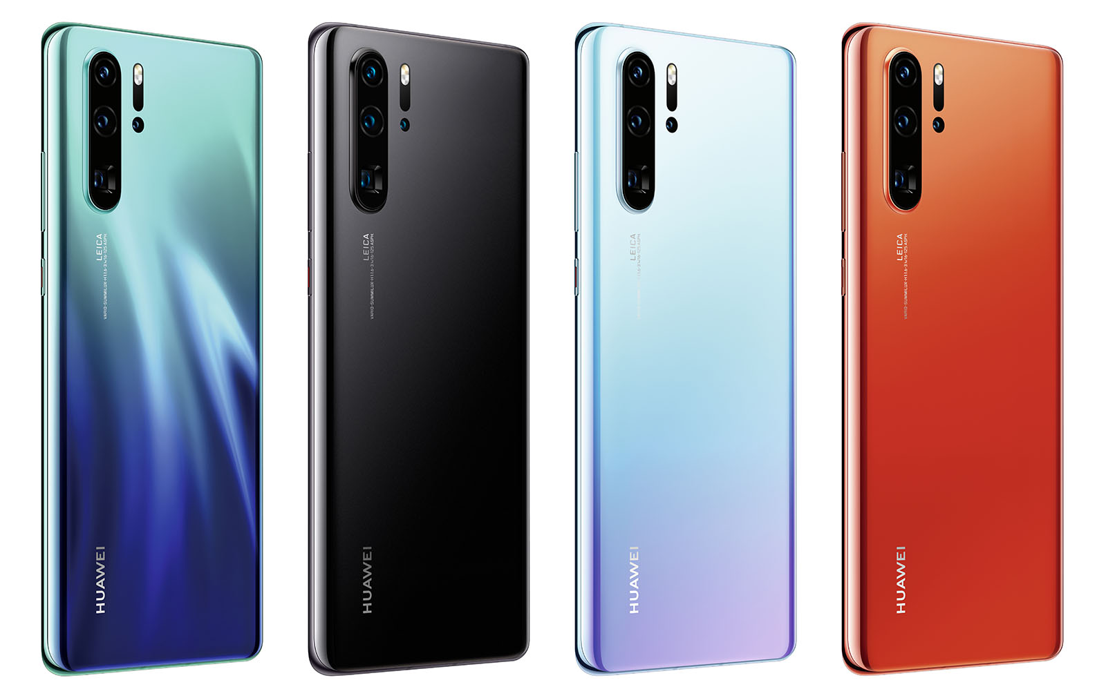 Huawei P30 Pro in Aurora, Black, Breathing Crystal, Amber Sunrise