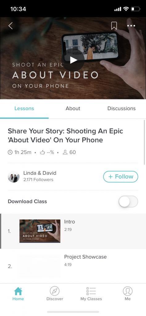 Screenshot aus Skillshare eines Kurses über Video-Profuktion mit dem Handy
