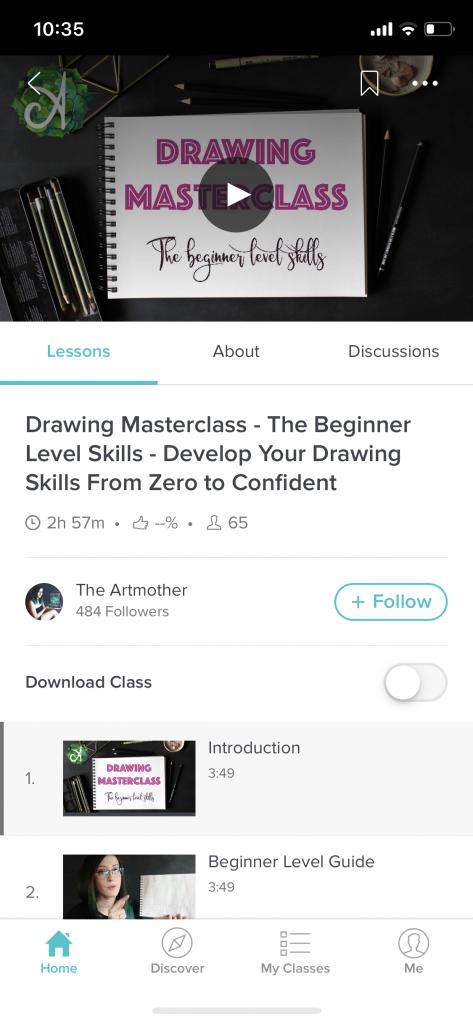 Screenshare aus Skillshare einer Drawing Masterclass
