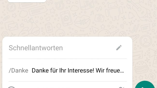 WhatsApp Business Schnellantworten