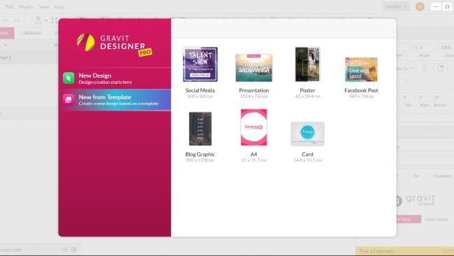 Um Social Media- oder Blog-Posts zu gestalten, stehen uns diverse Templates zur Verfügung. / Screenshot Gravit Designer by Moritz Stoll
