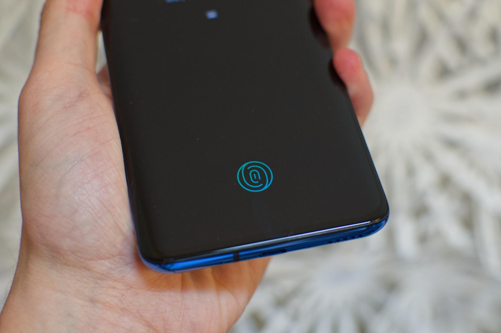 Bild des Fingerabdrucksensors des OnePlus 7 Pro. Image by Jonas Haller.