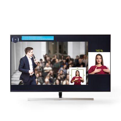 Für die Barrierefreiheit beim Fernsehen vergrößert der Gebärdensprache-Zoom auf Samsung Smart TVs das Fenster mit Dolmetschern