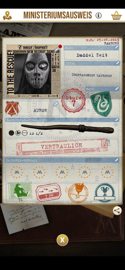 Charakterprofil in Wizards Unite