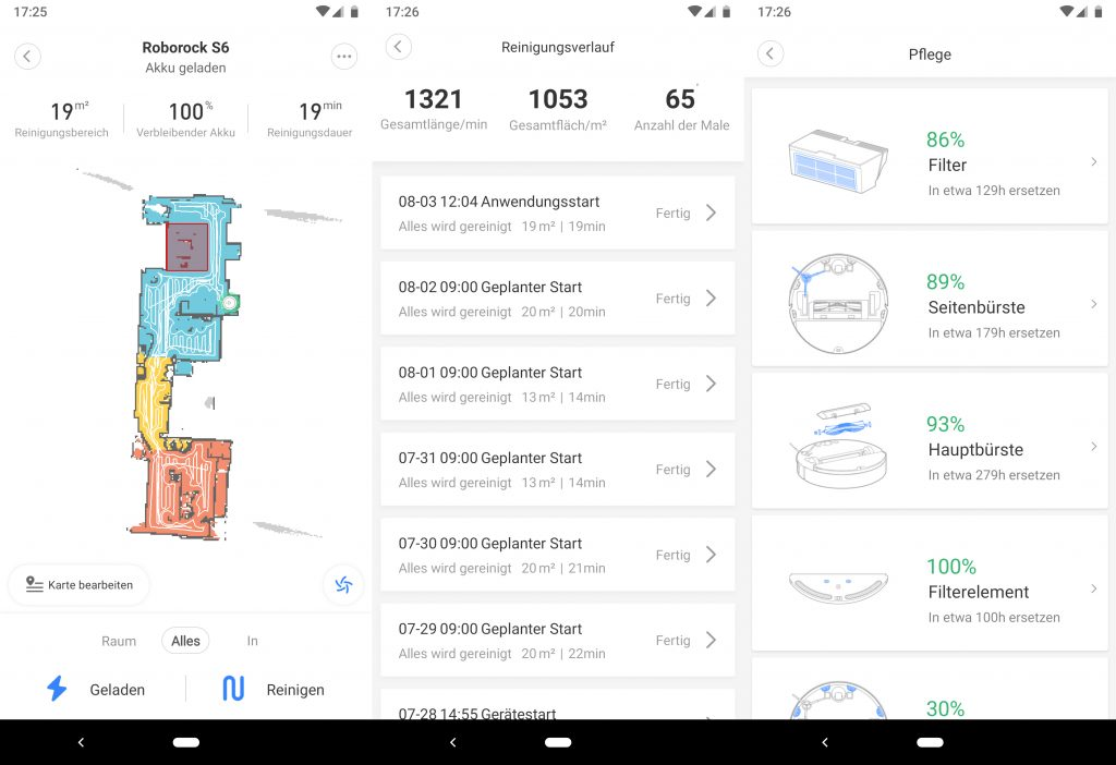 Die App des Roborock S6.