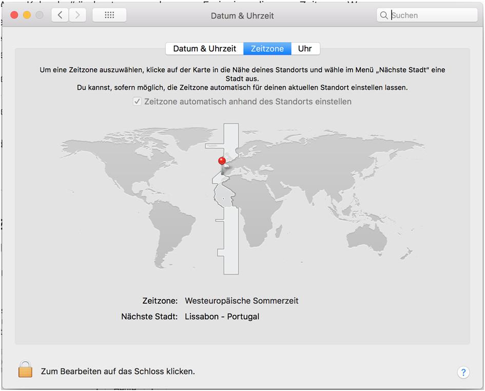 Zeitzonen auf dem Mac