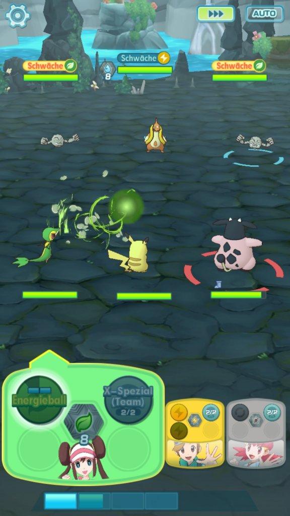 Der Kampf-Bildschirm von Pokémon Masters.