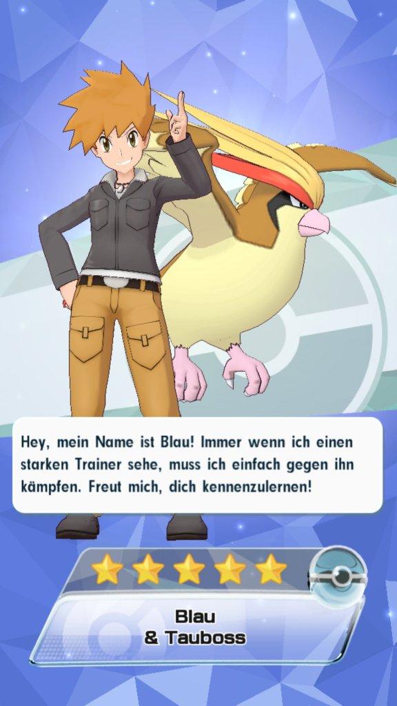 Der Pokémon-Trainer Blau schließt sich uns an.