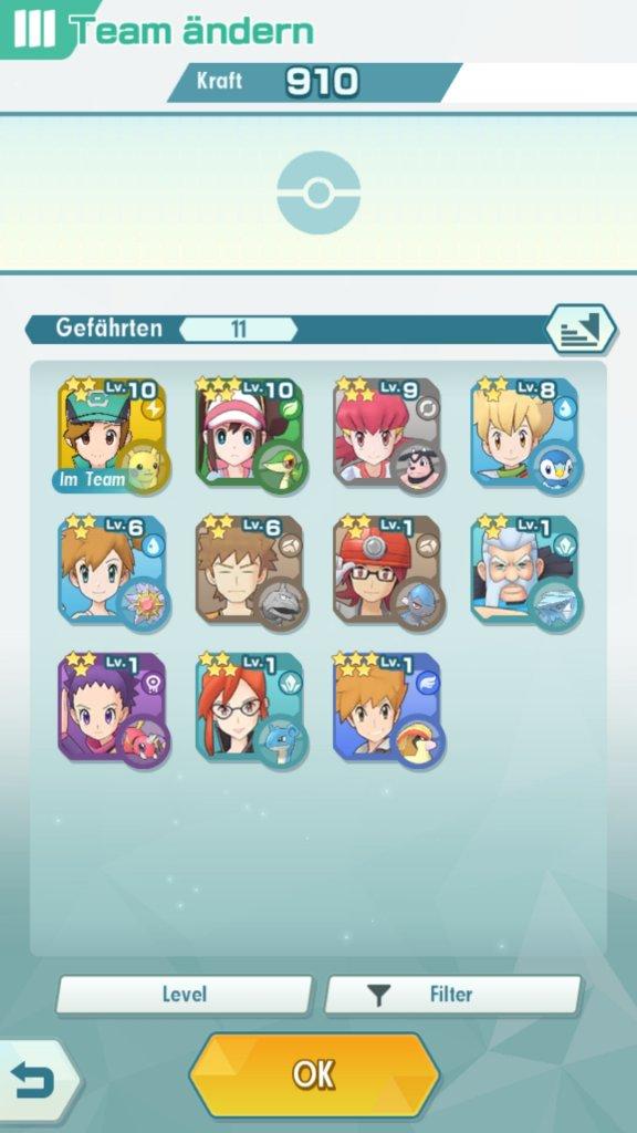 Der Team-Bildschirm von Pokémon Masters