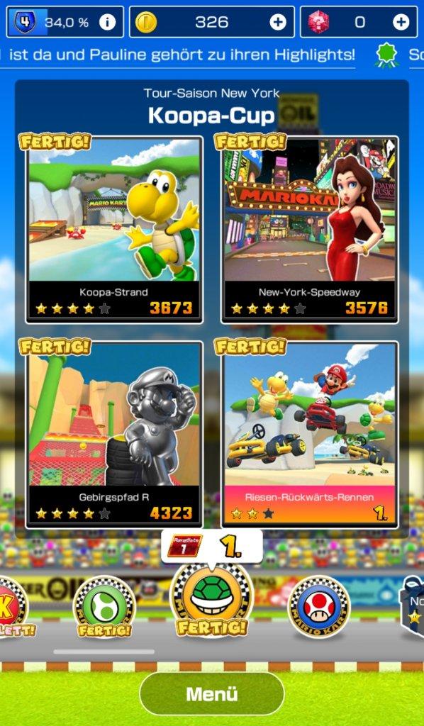 Menü von Mario Kart Tour