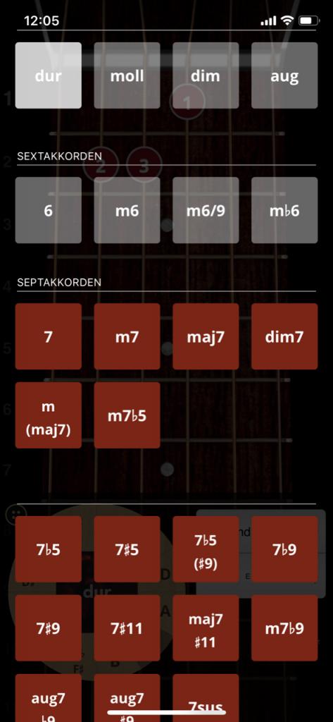 Screenshot Auswahl der Akkorde in der App
