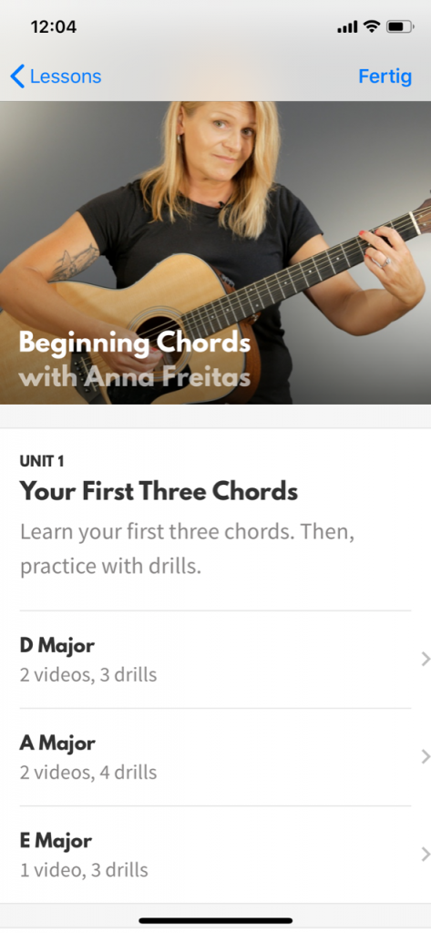 Screenshot Kurse in der Akkorde App