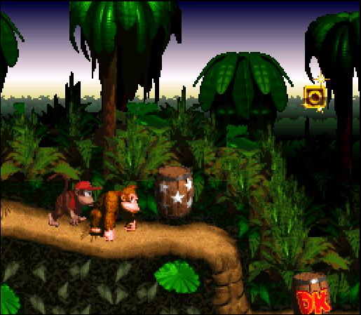 Donke Kong und Diddy Kong durchstreifen den Dschungel.