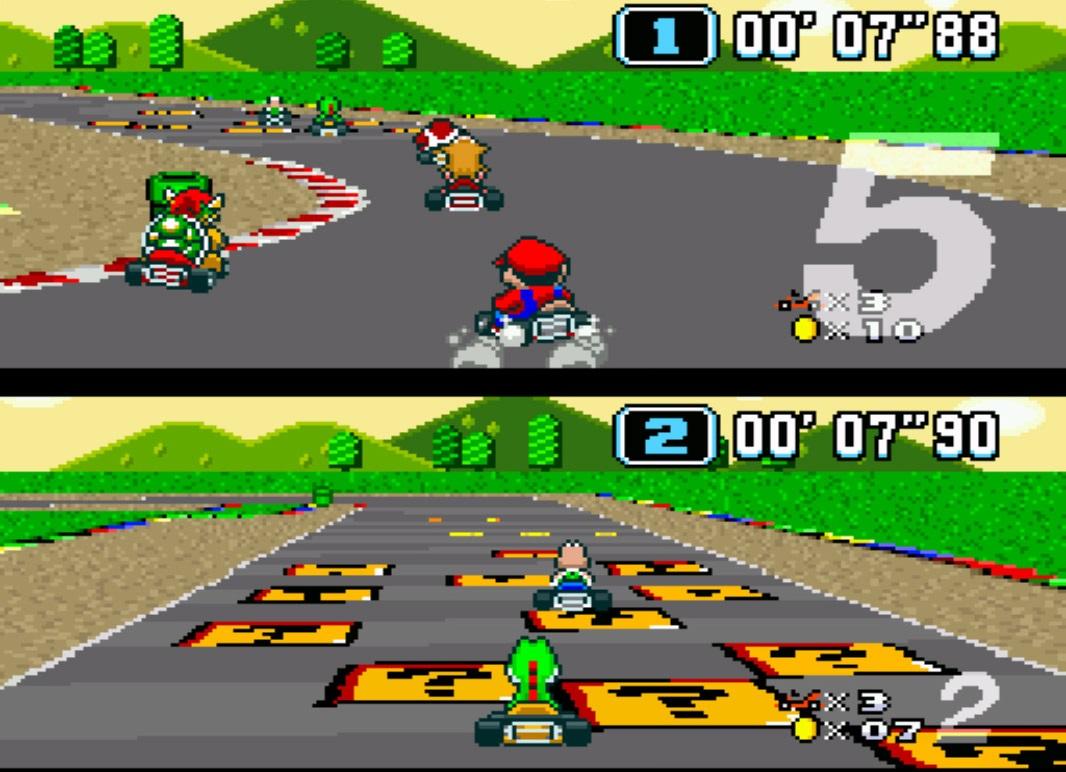 Die Fahrer auf der Mario-Kart-Strecke.