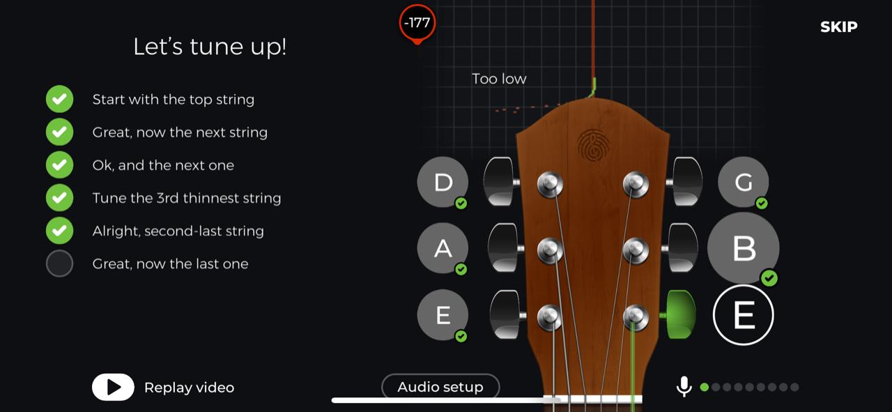 Screenshot der Anfang in yousician zum Gitarre lernen online