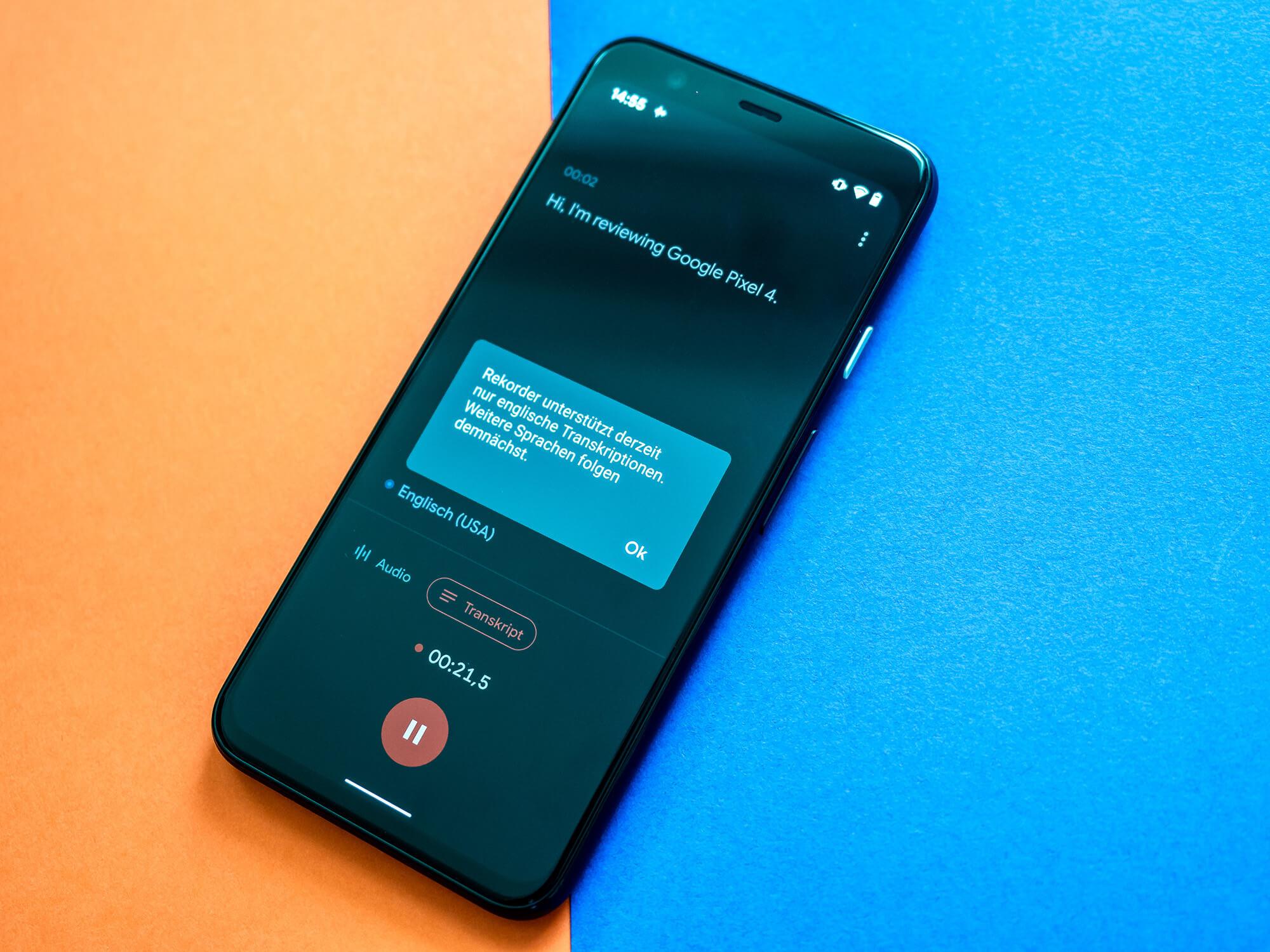 Google Pixel 4 im Test Live Transcribe