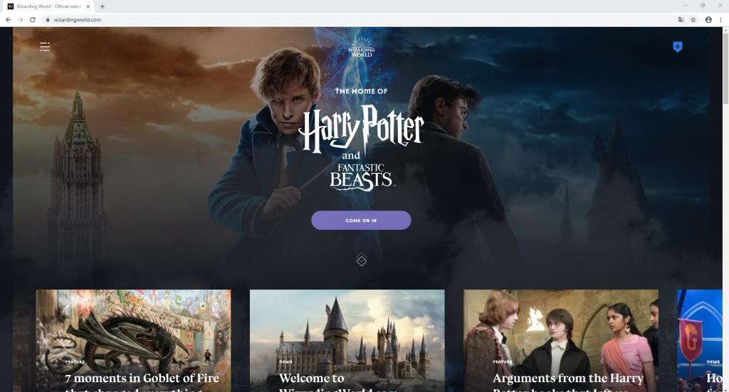 Die Website Pottermore