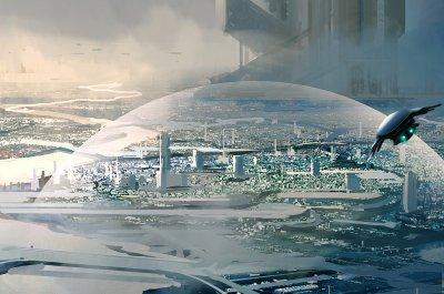 Science Fiction für Tech Ideen Titelbild (Raumschiff vor futuristischer Stadt) - Image by liuzishan