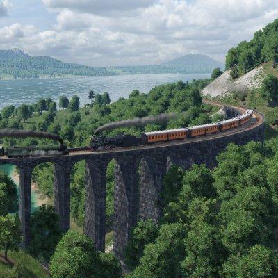 Züge auf einer Brücke.