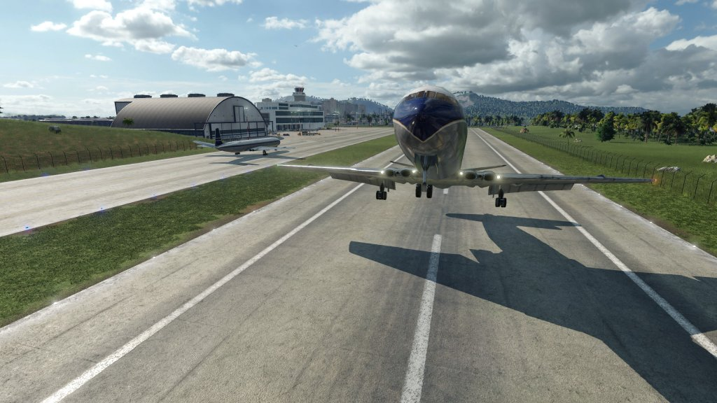 Ein Flugzeug beim Abheben.