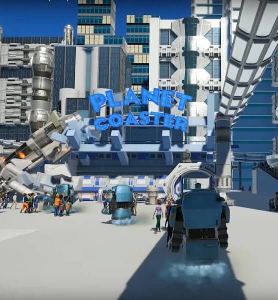 Die Science Fiction-Welt Futureworld in Planet Coaster.