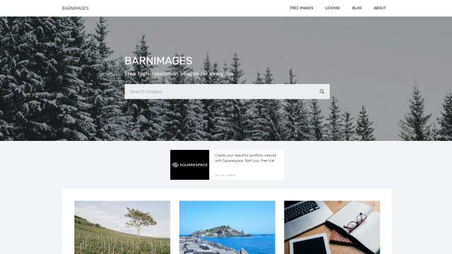 Die Suchmaske auf Barnimages - Seite für kostenlose Stockfotos - Screenshot von Moritz Stoll