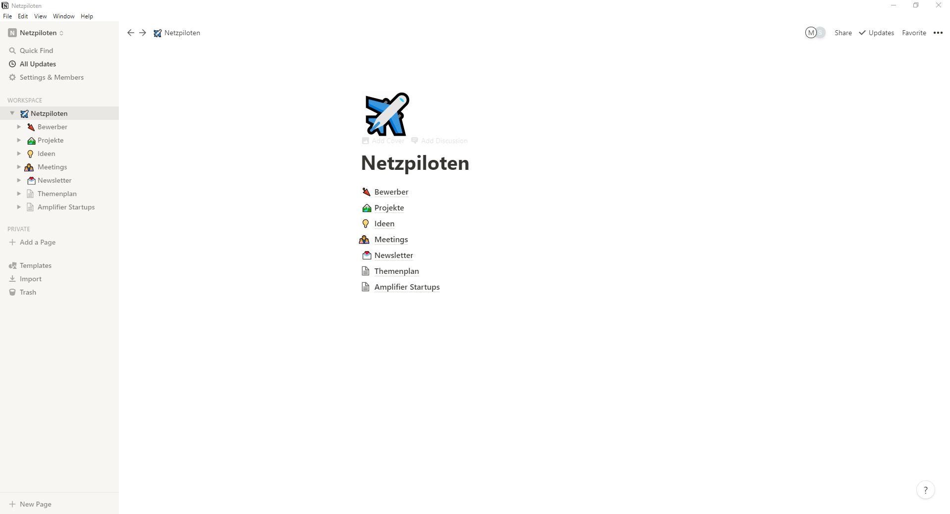 Notion Benutzeroberfläche / Screenshot aus Notion erstellt von Moritz Stoll