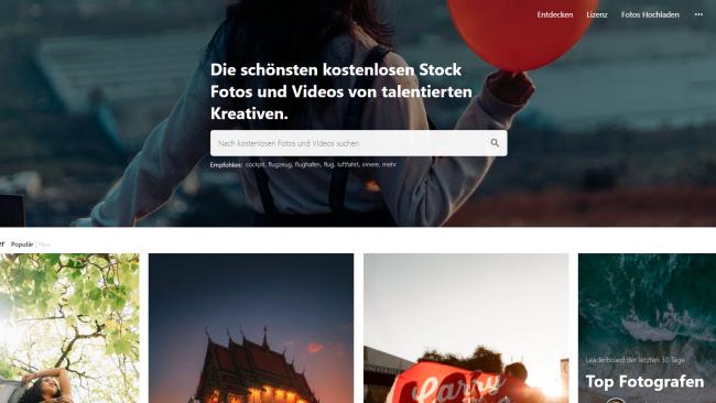 Pexels - Seite für kostenlose Stockbilder - Suchmaske Screenshot von Moritz Stoll
