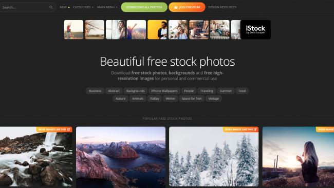 Suchmaske auf Picjumbo - Fotoseite - Screenshot von Moritz Stoll