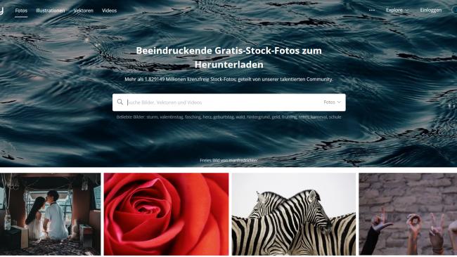 Pixabay - Seite für kostenlose Stockfotos - Startseite Screenshot von Moritz Stoll