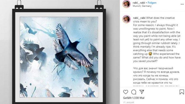 Wasserfarbenzeichnung by Rabi Alieva via Instagram