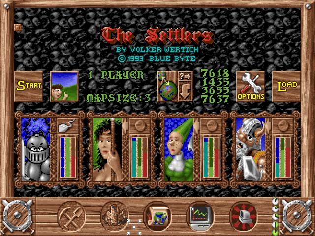 Im Startbildschirm wählt man KI-Schwierigkeit und Map-Seed aus.