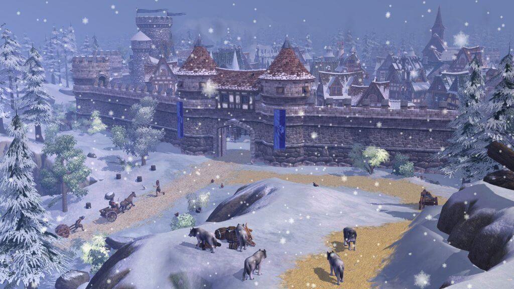 Eine befestigte Stadt im Winter
