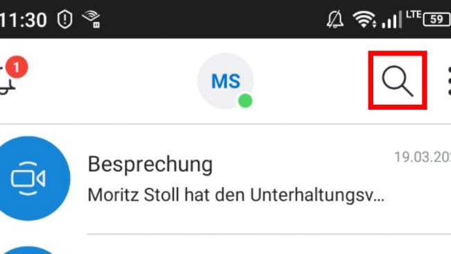 Skype Mobile Suchen-Funktion / Screenshot aus Skype von Moritz Stoll