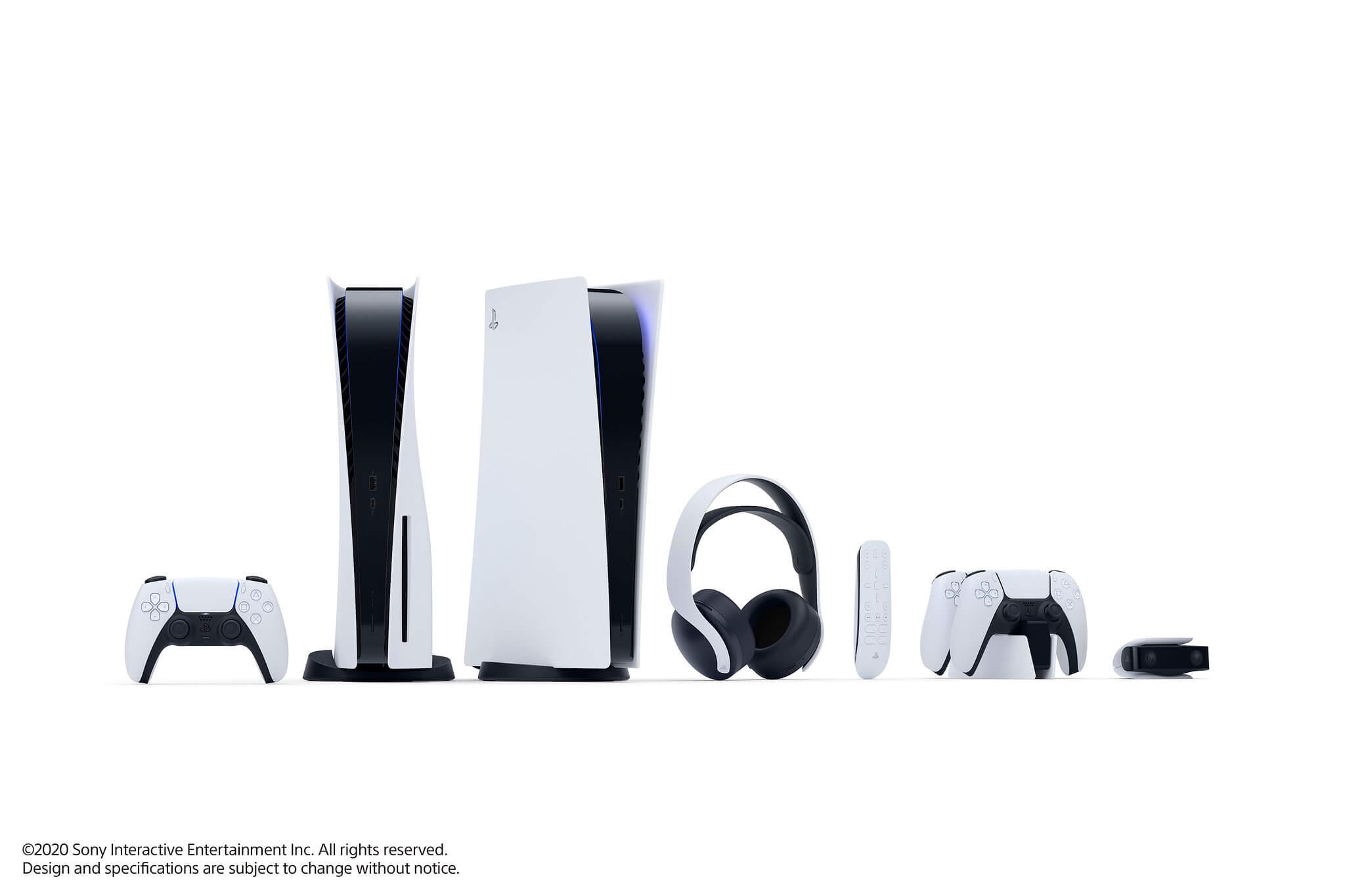 Das Zubehör der PlayStation 5  mit sehr ähnlichem Design zur Konsole