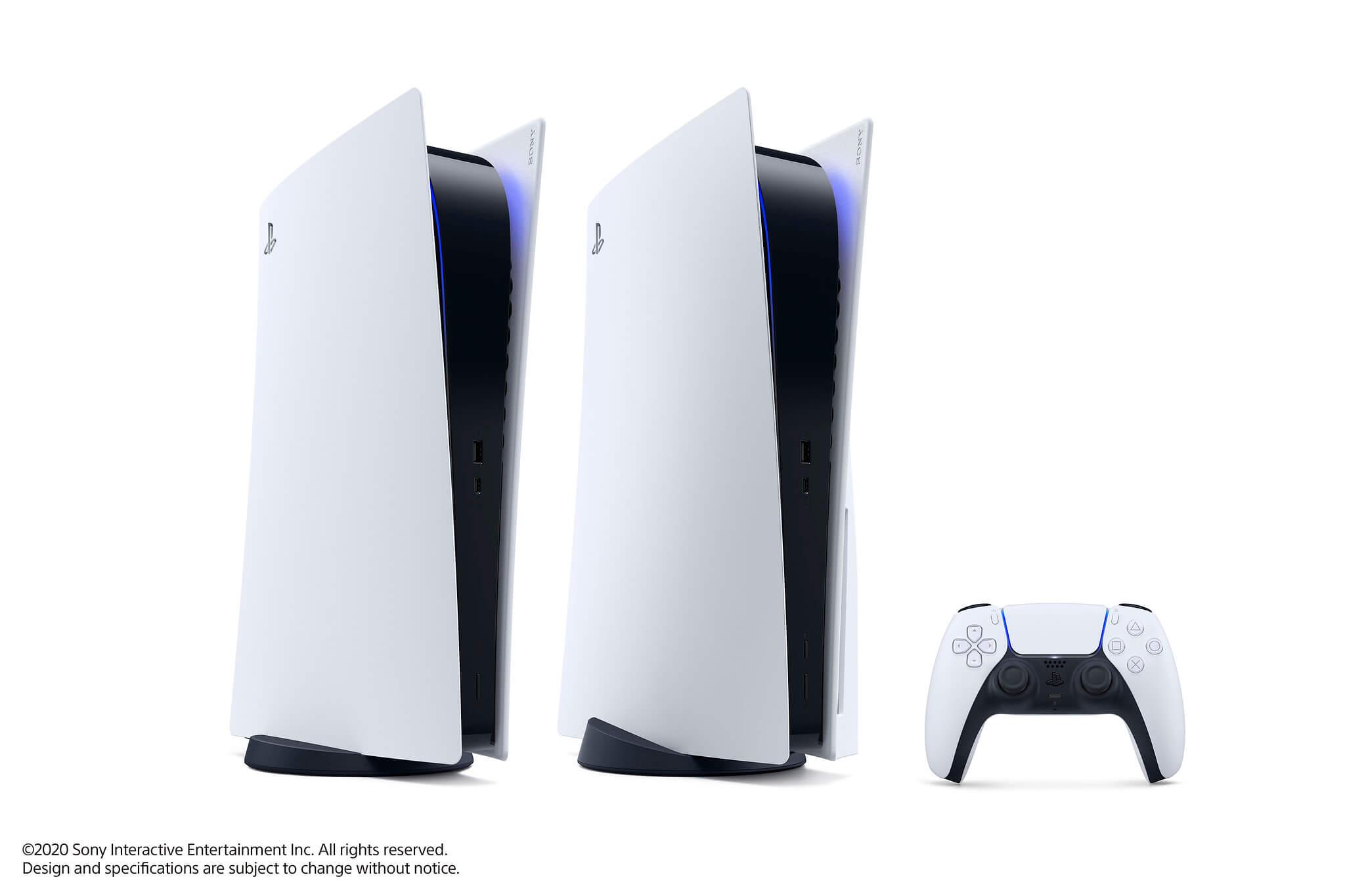 Das Design der PlayStation5 elegant in weiß und schwarz gehalten.