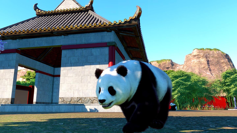 Ein Panda vor seinem Schlafplatz im design eines asiatischen Tempels