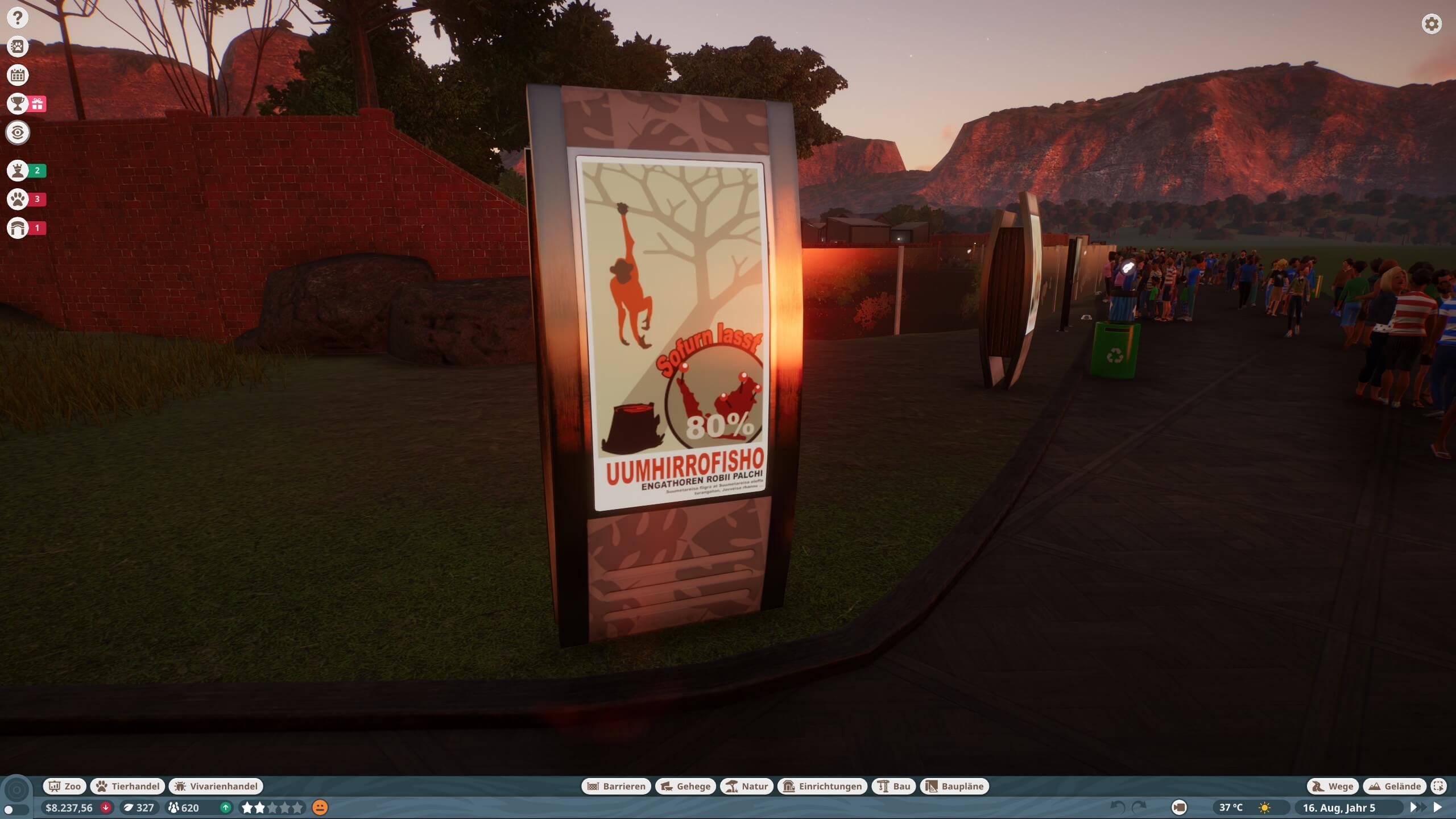 Eine Infotafel im Zoo klärt Besucher auf