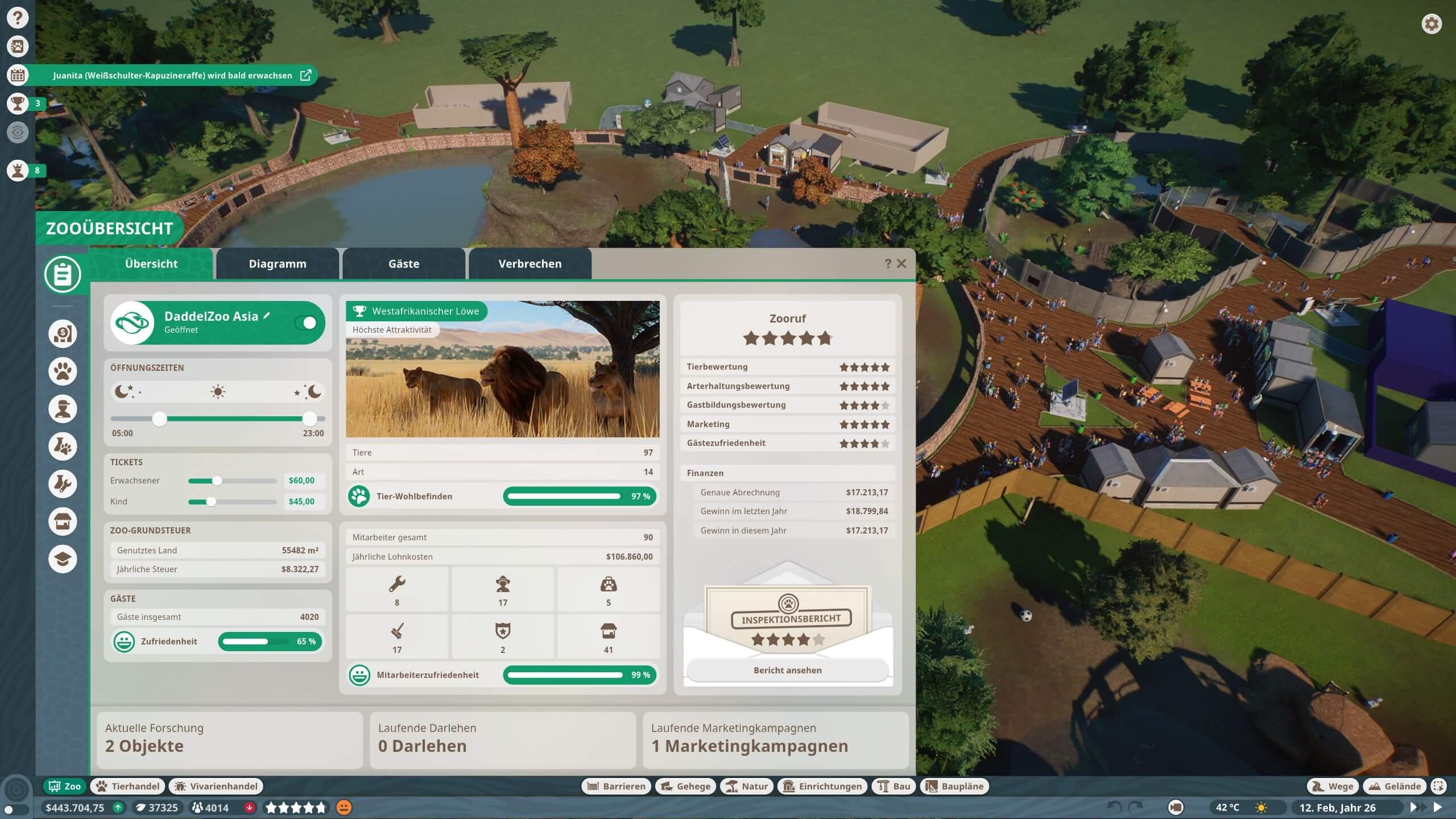 Der Verwaltungsbildschirm in Planet Zoo