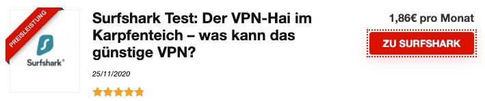 Zeigt eine Anzeige von Surfshark einem im Vergleich dargestellten VPN anbieter