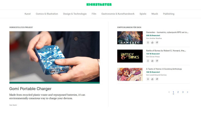 Aktuelle Projekte auf der Kickstarter-Startseite