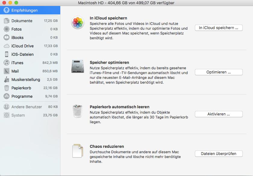 macOS neu aufsetzen Widgets