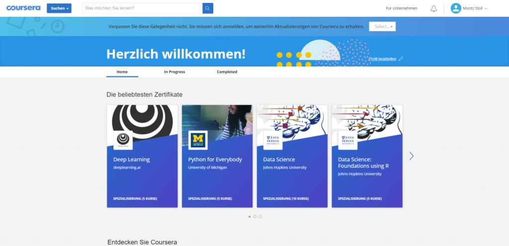 Screenshot aus Coursera erstellt von Moritz Stoll