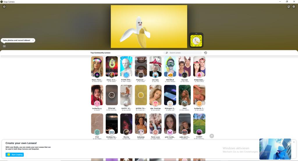 Die Benutzeroberfläche in Snap Cam
